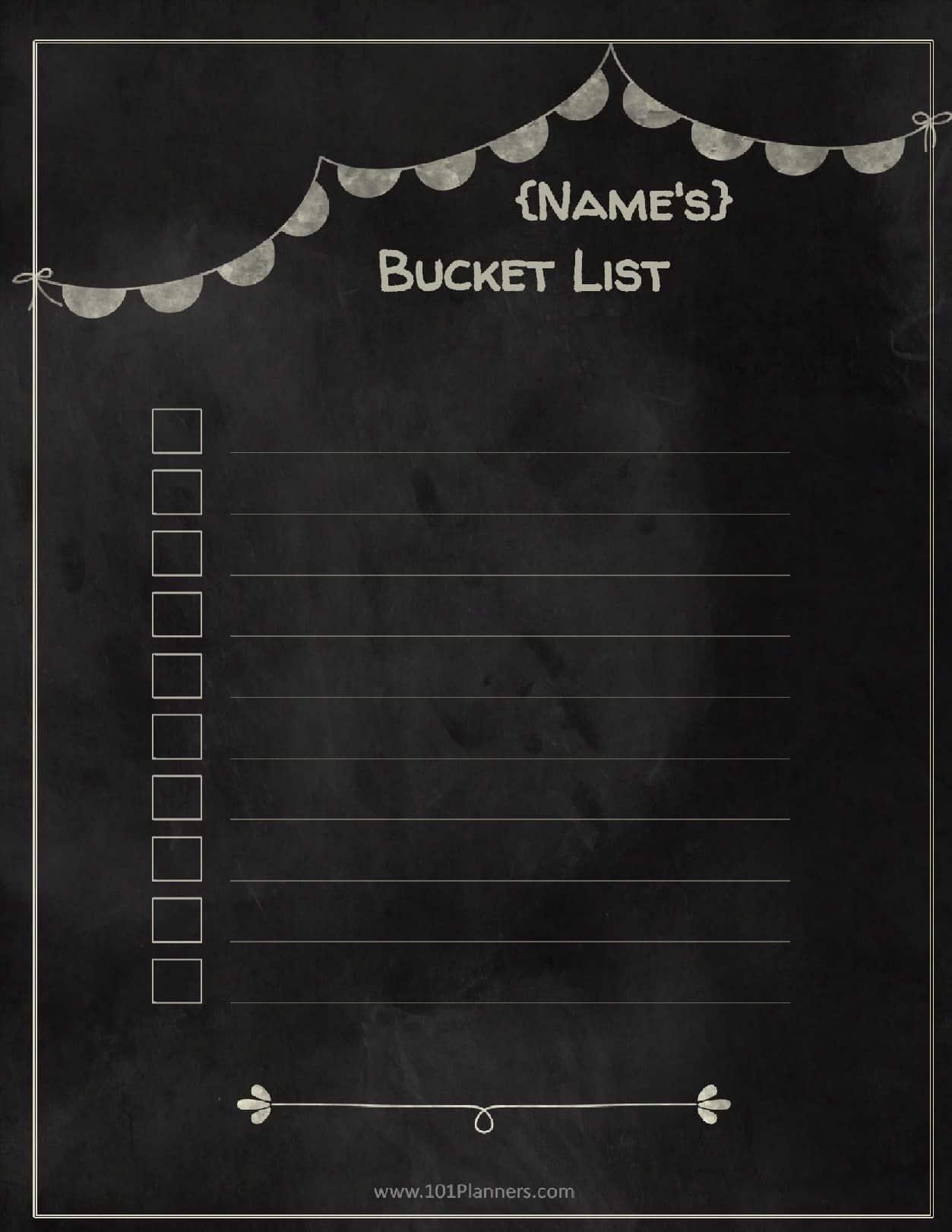 free bucket list printable