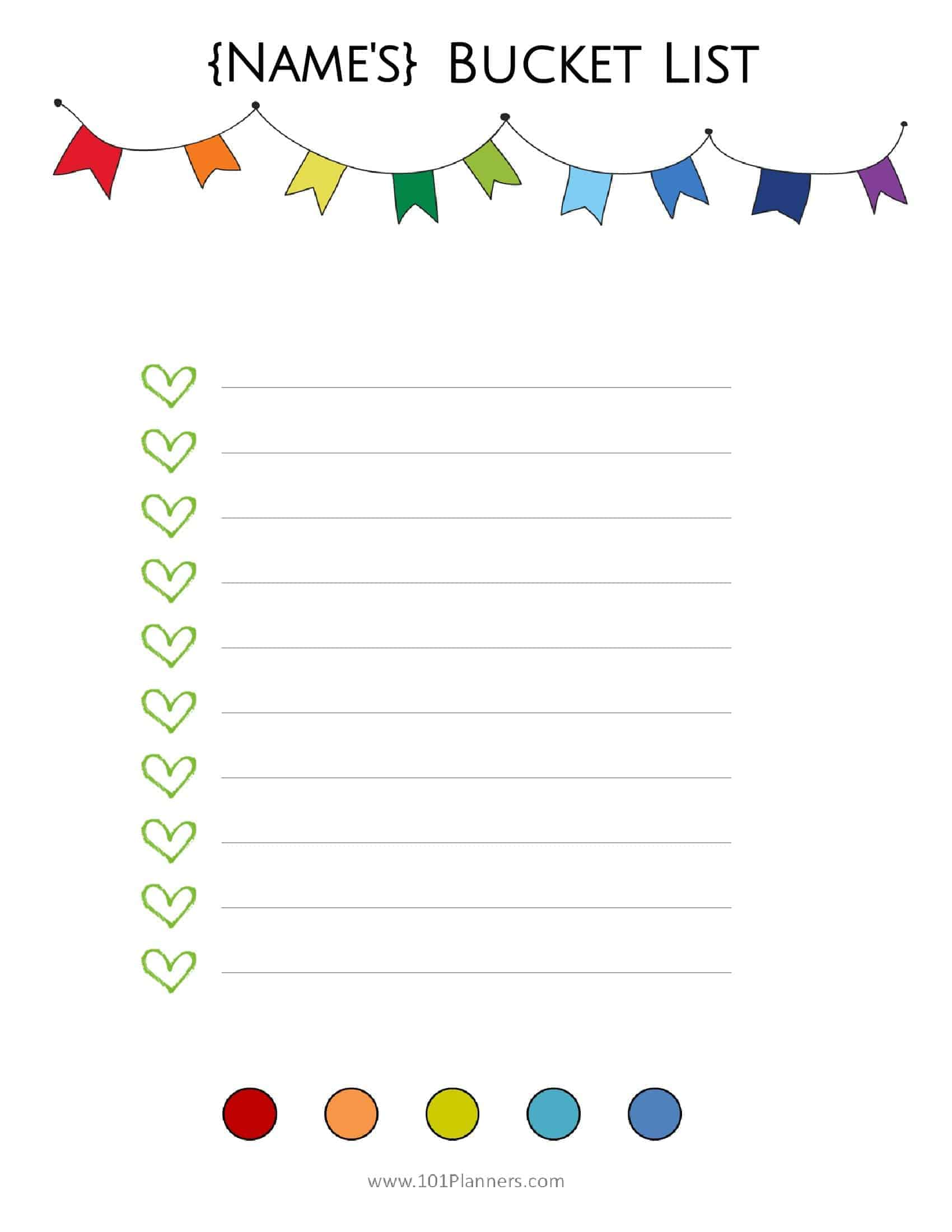 graphic about Bucket List Printable Template named Absolutely free Bucket Record Printable Personalize On the net Print at Household