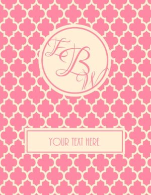 monogram binder cover with label