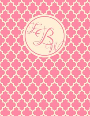 Pink monogram binder cover