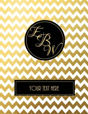 gold chevron with monogram and label