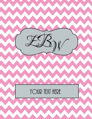 pink chevron with monogram and tag