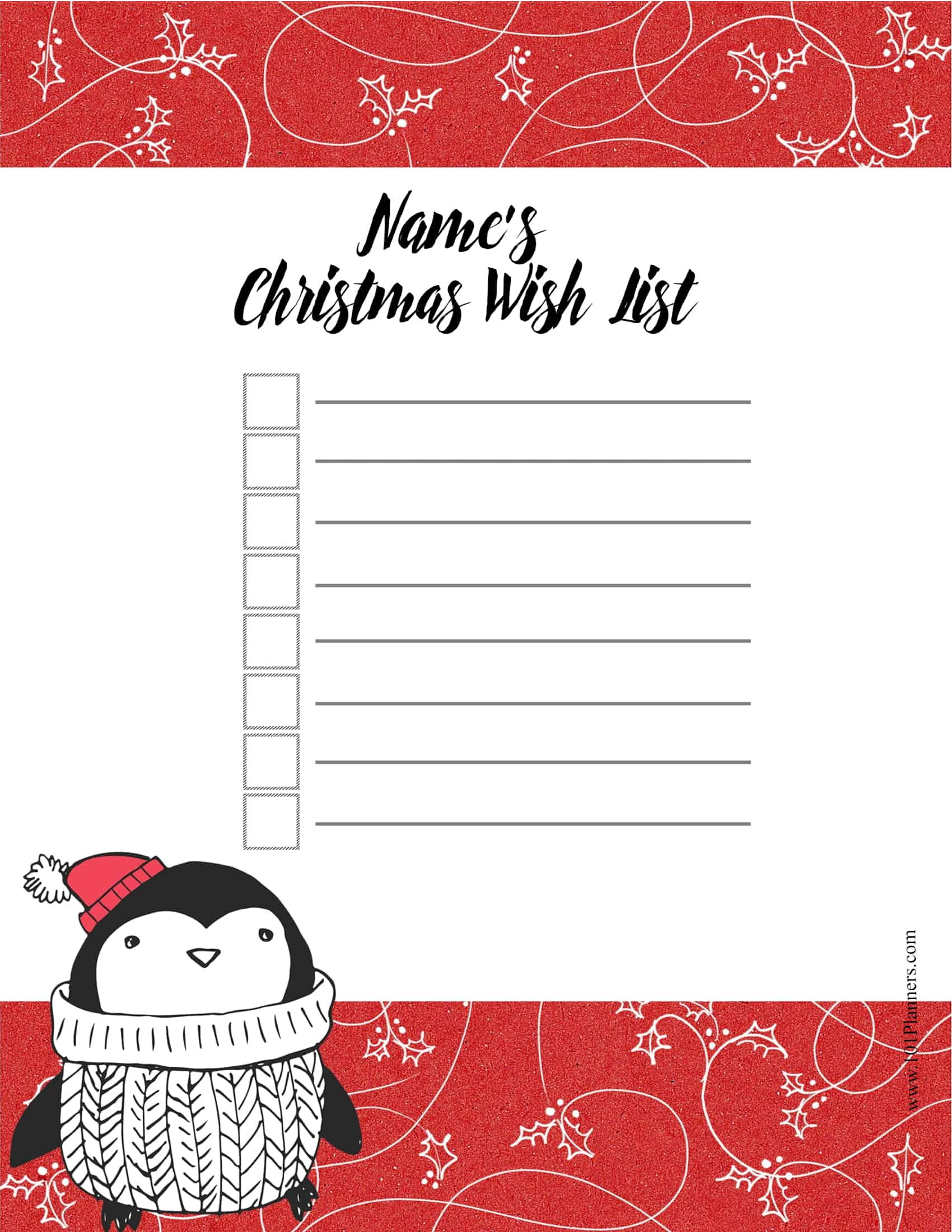 Christmas List Template Word from www.101planners.com
