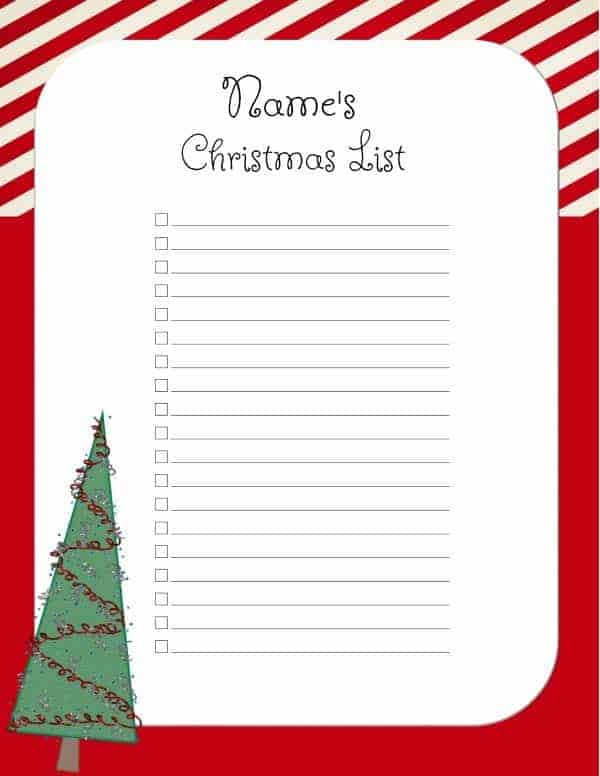 ... Christmas List Template ...  Free Christmas List Template