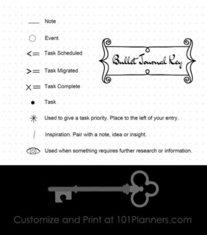graphic about Bullet Journal Key Printable titled Absolutely free Printable Bullet Magazine Mystery Edit on the net then print