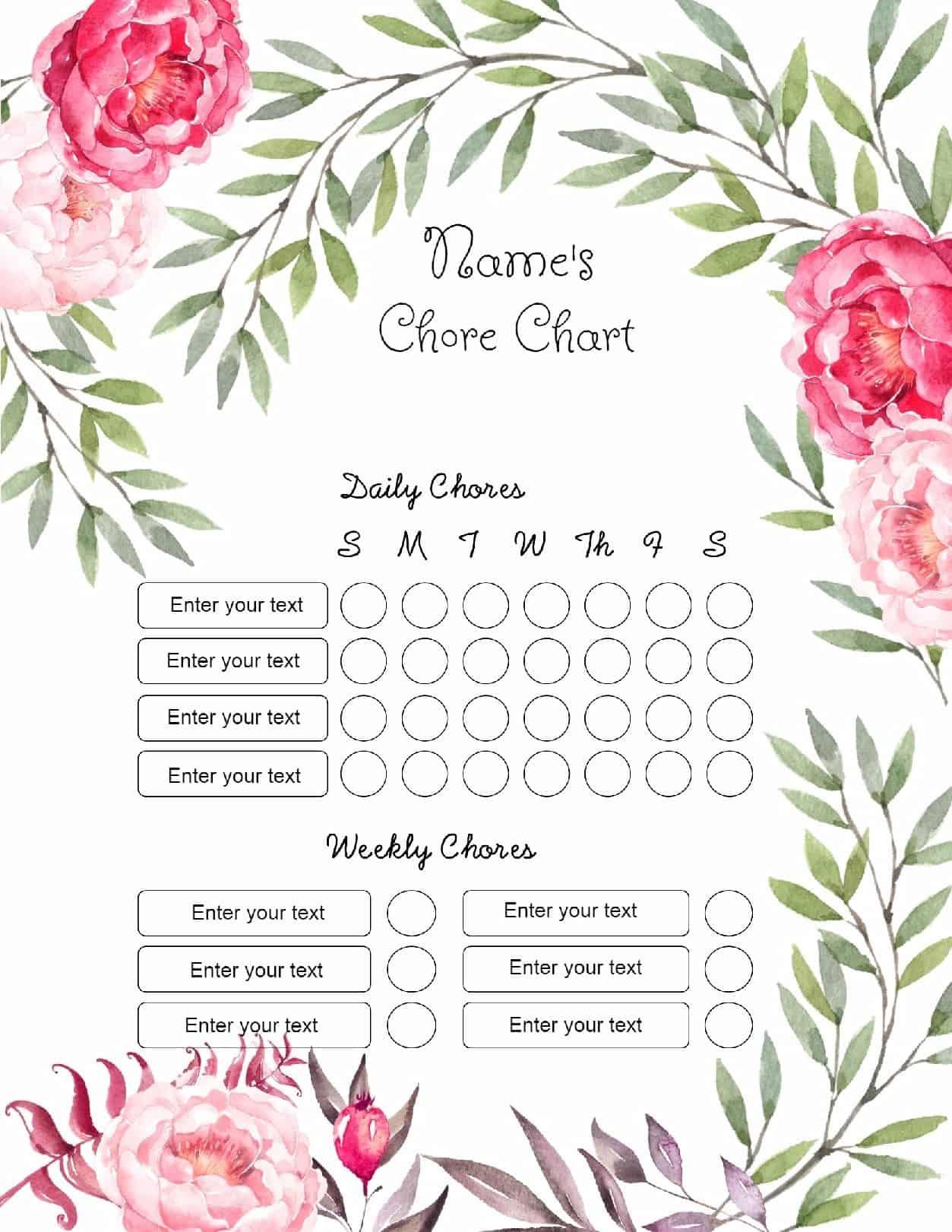 free chore chart