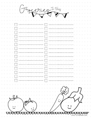 Printable grocery list with blank list