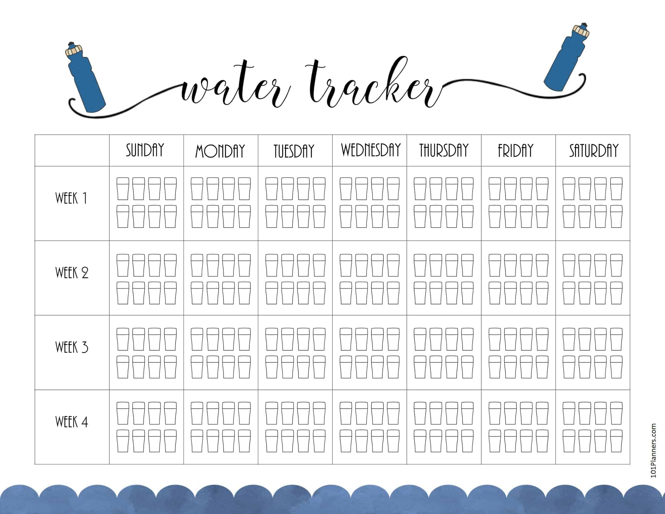 Agile image with water tracker printable