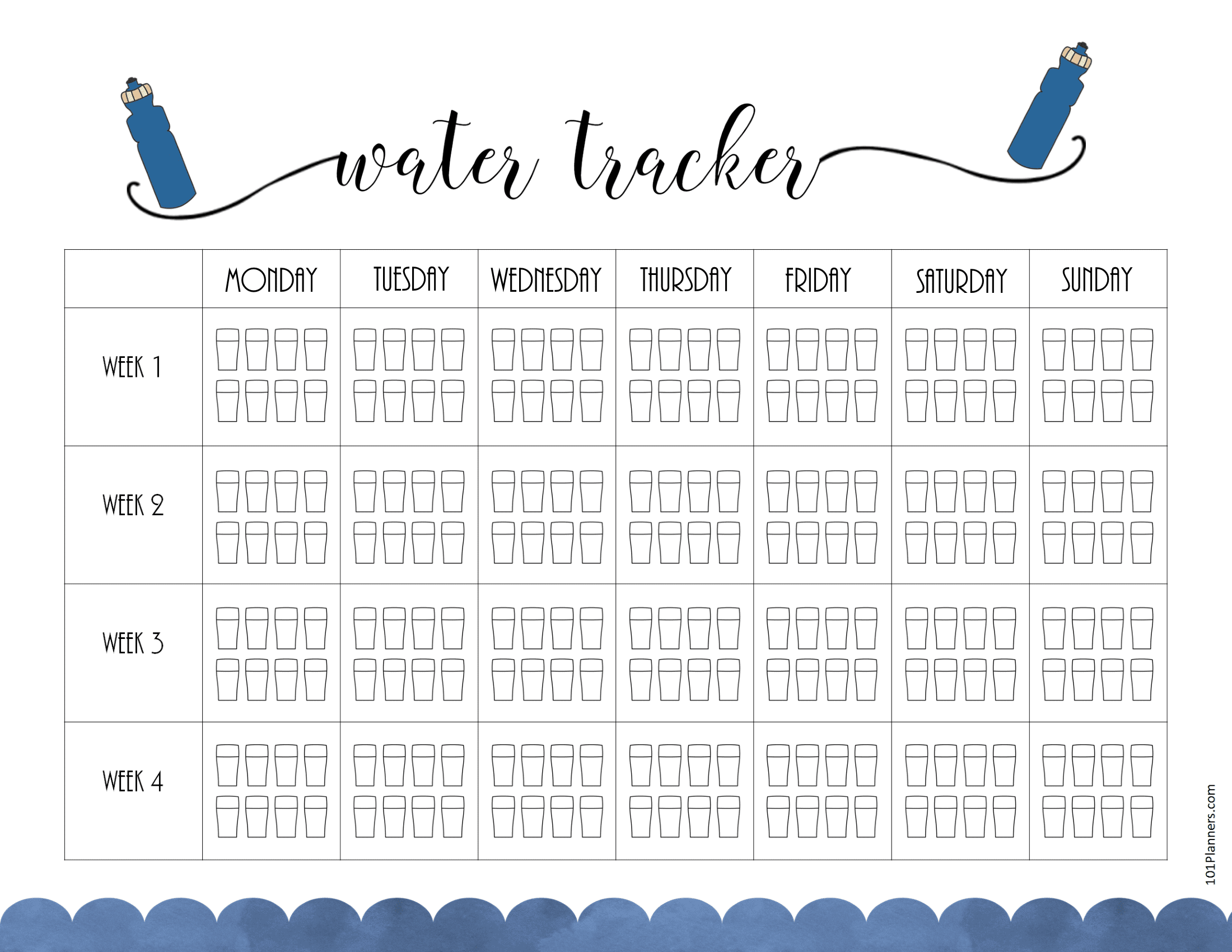 Printable Water Intake Chart 6 Gles Per Day