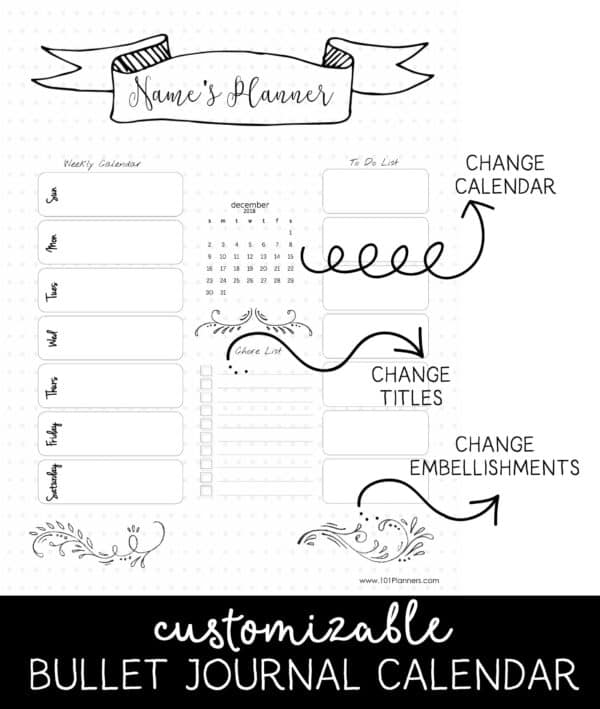 Dot Calendar Bullet Journal : Bullet journal calendar free customizable printable