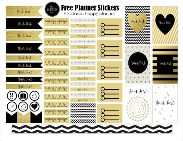 Black and gold planner stickers