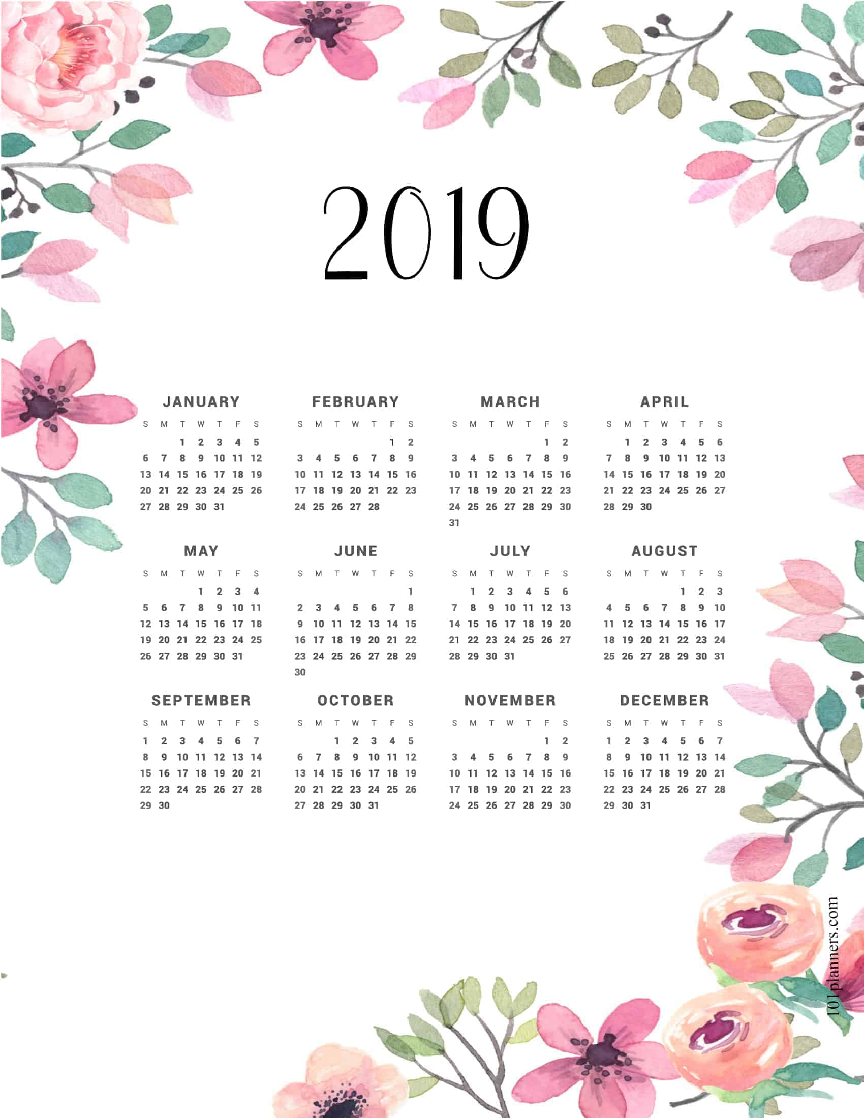graphic regarding Printable Weight Loss Calendars named Cost-free printable 2019 per year calendar at a look 101