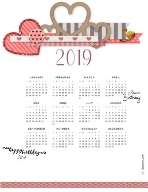 Pretty calendar for 2019