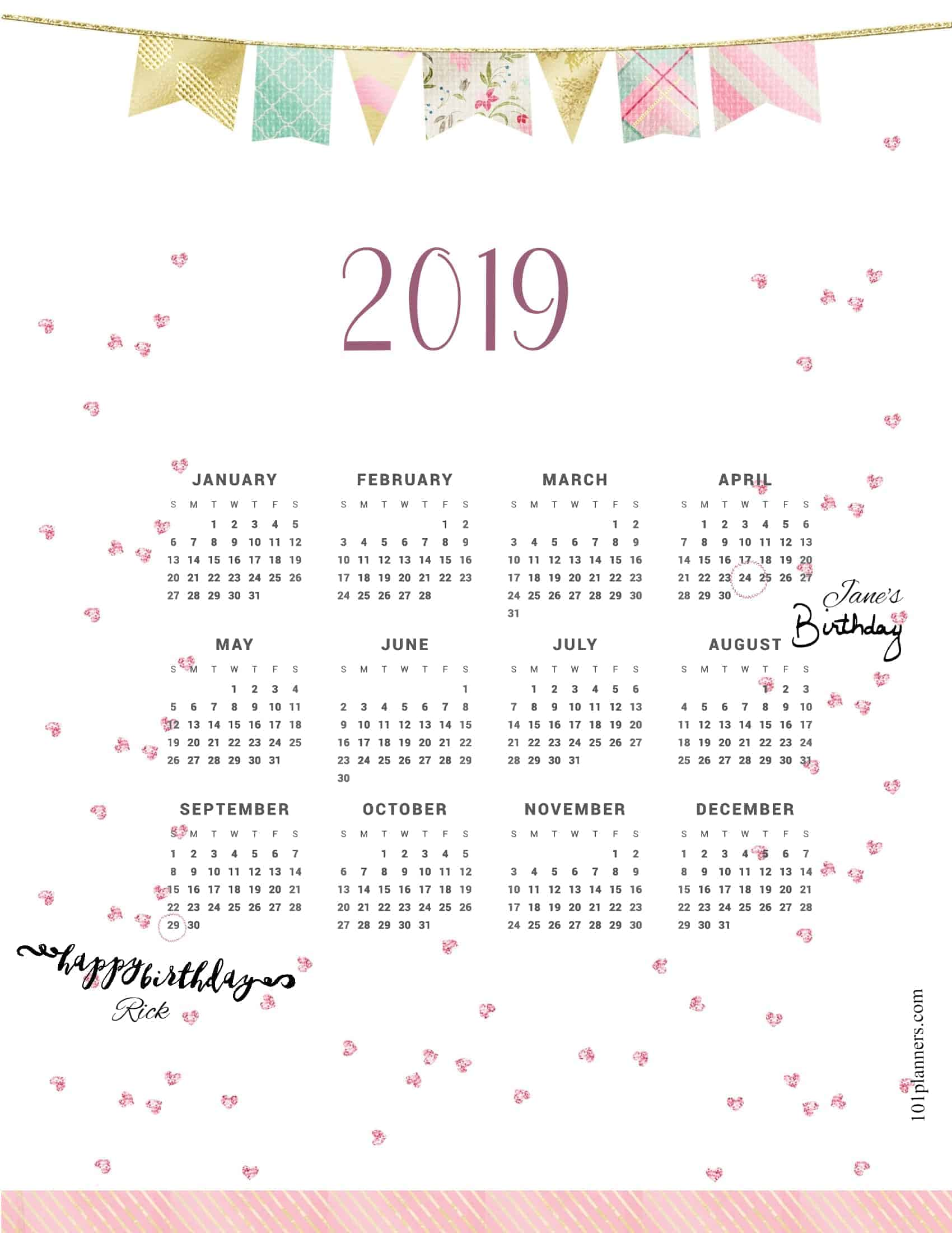 photo about Printable Weight Loss Calendars called Free of charge printable 2019 per year calendar at a seem 101