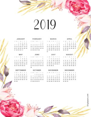 Free printable calendar template for 2019