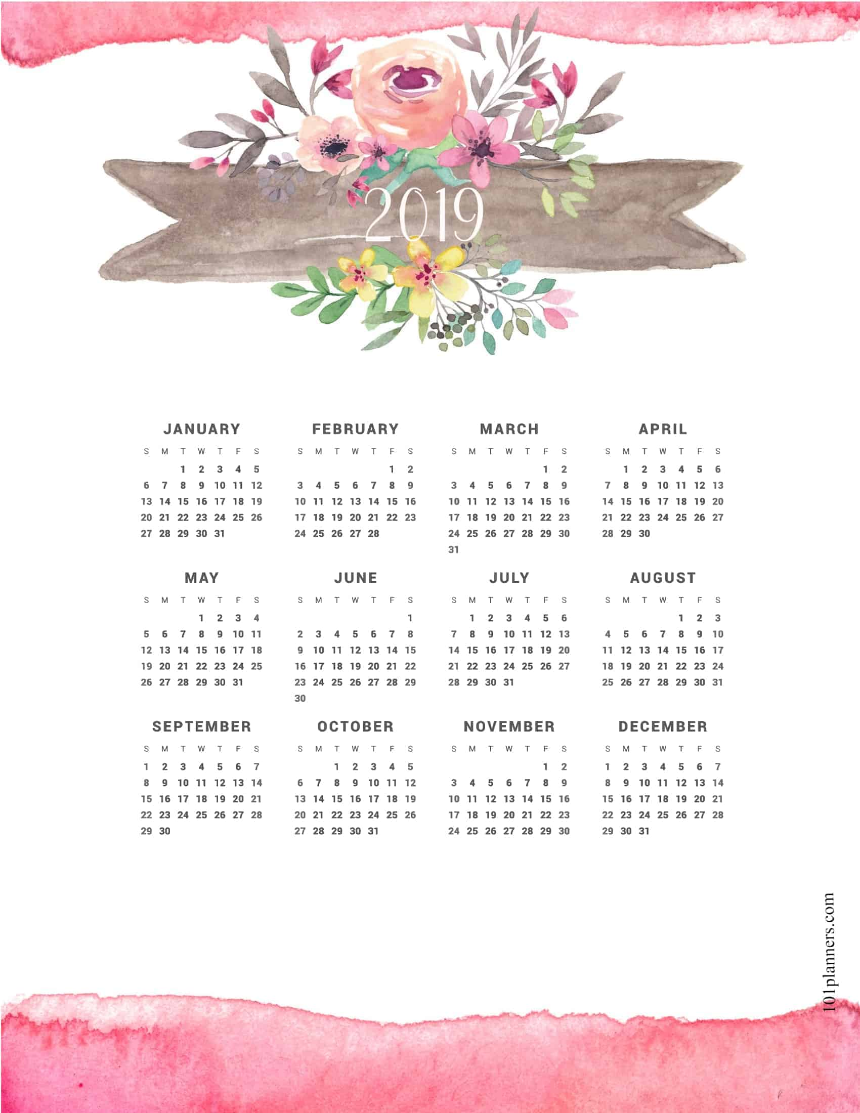 graphic relating to Printable Weight Loss Calendars named No cost printable 2019 every year calendar at a search 101