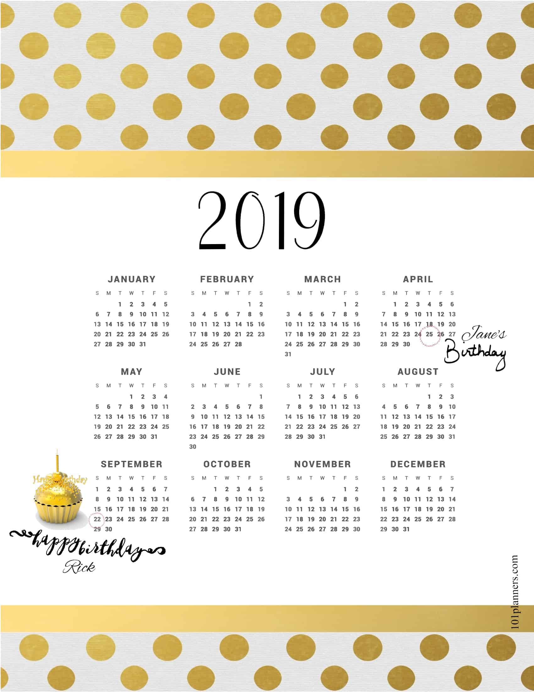 Free printable 2019 yearly calendar at a glance | 101 ...