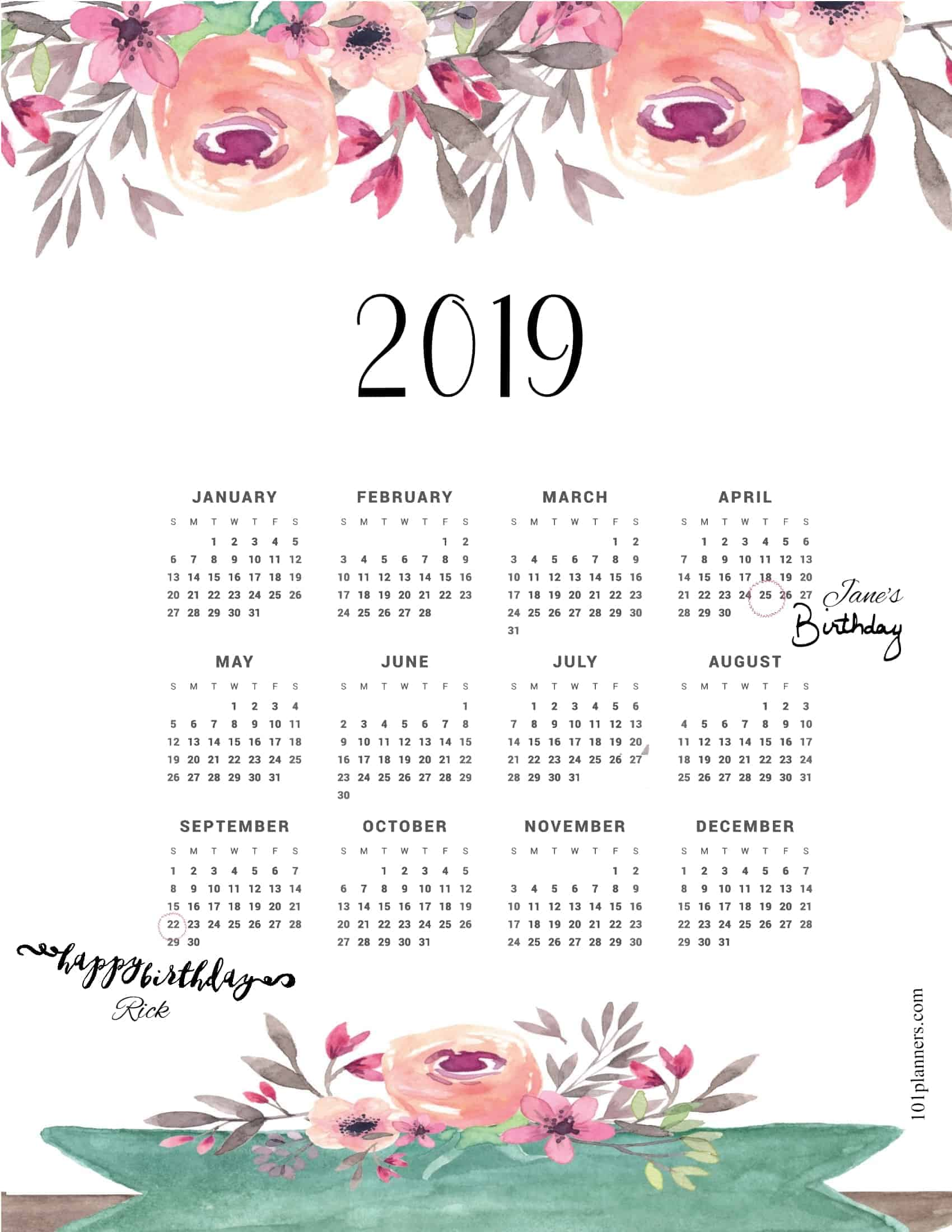 photo relating to Printable Weight Loss Calendars referred to as Absolutely free printable 2019 on a yearly basis calendar at a search 101