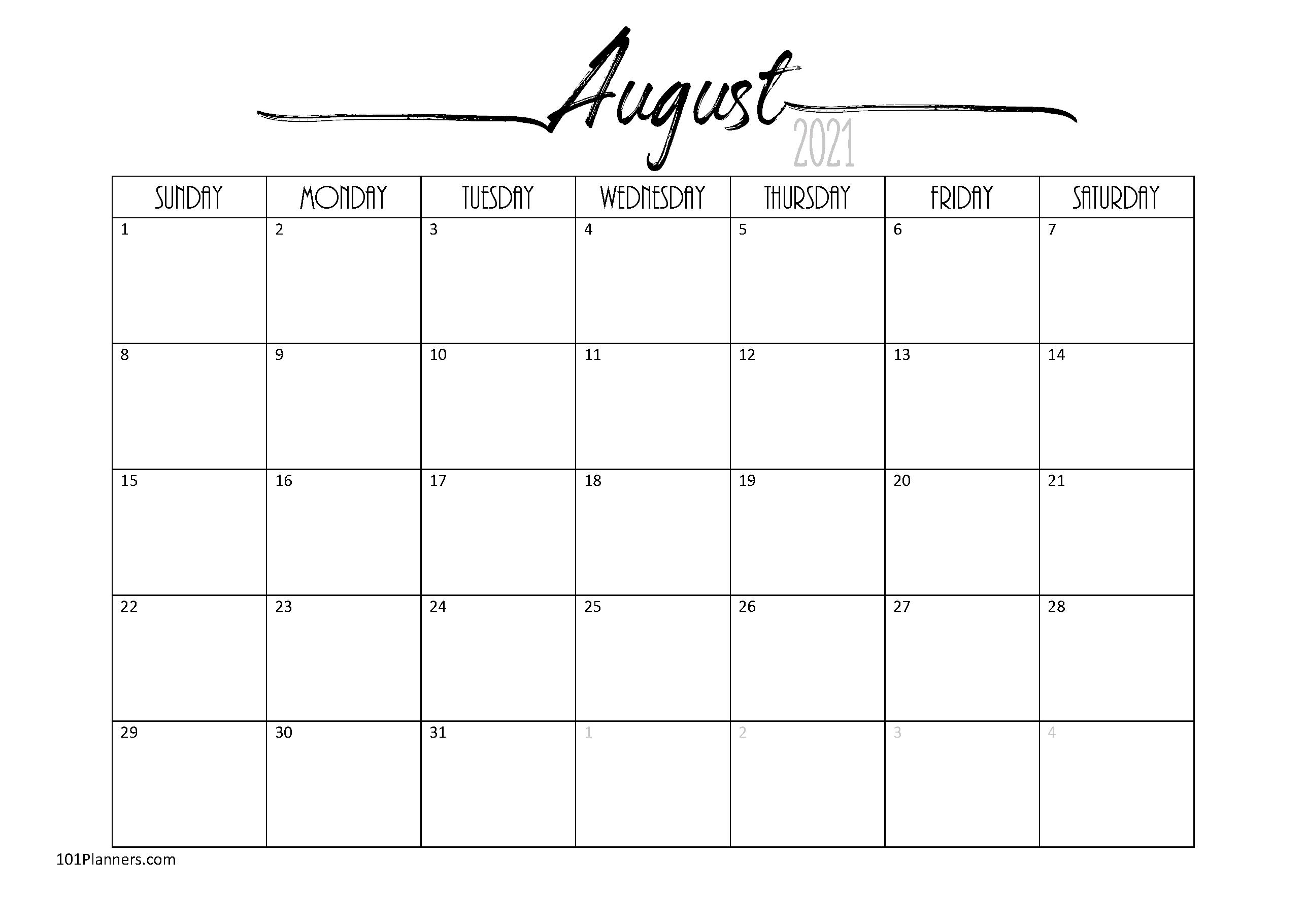 Free Blank Calendar Template from www.101planners.com