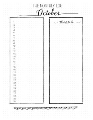 October bullet journal monthly spread