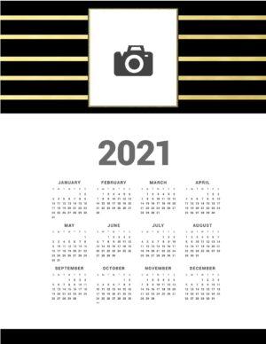 Black and gold calendar printable