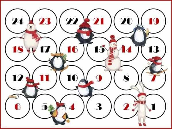 Christmas countdown calendar printable