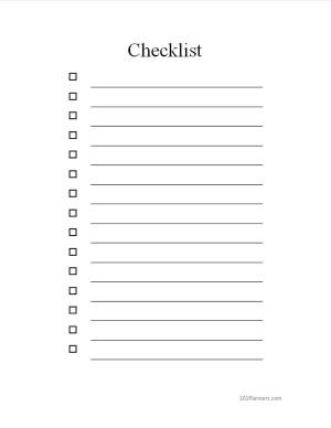 Checklist Template Word