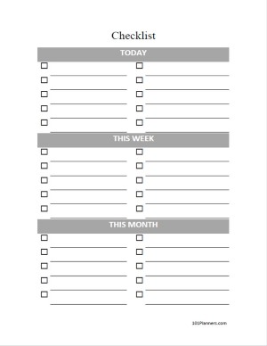 Monthly Checklist Template from www.101planners.com