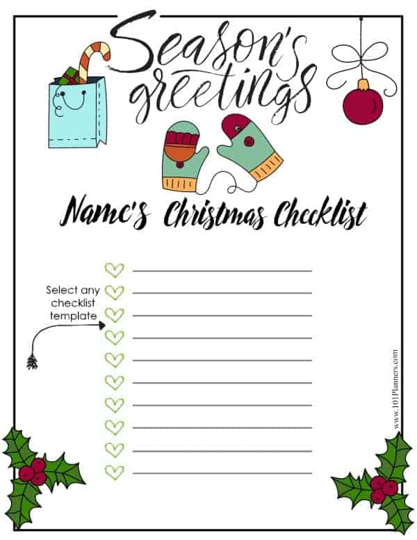 free christmas list template