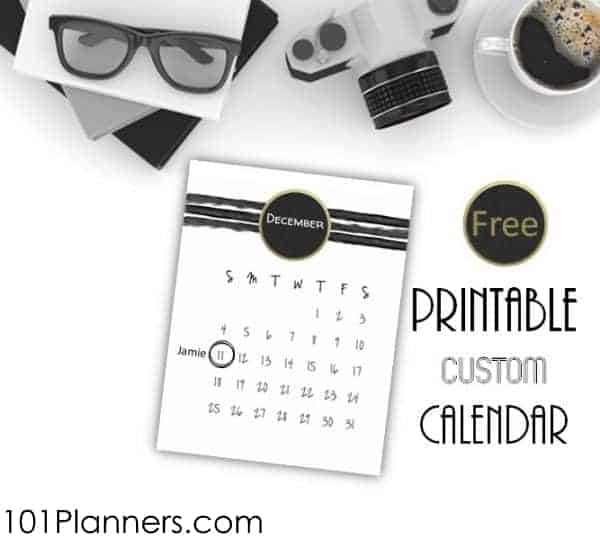 Free printable calendar template with white background and black watercolor stripes
