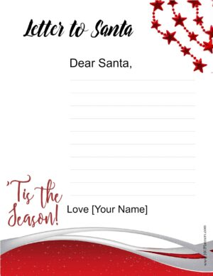 Free template to write letter to Santa