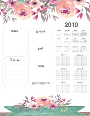 weight loss calendar 2019