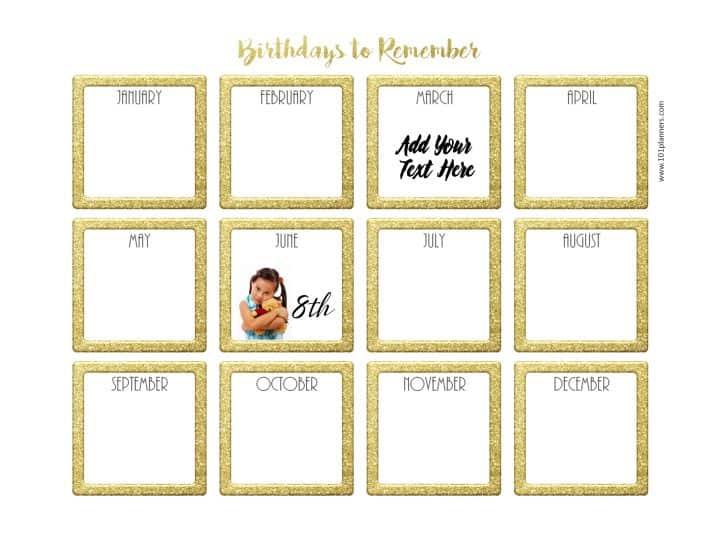 Free Birthday Calendar Printable & Customizable Many Designs!