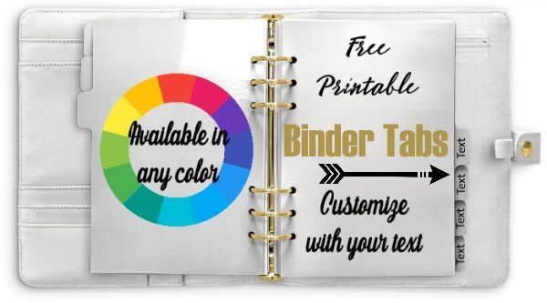 Printable tab dividers