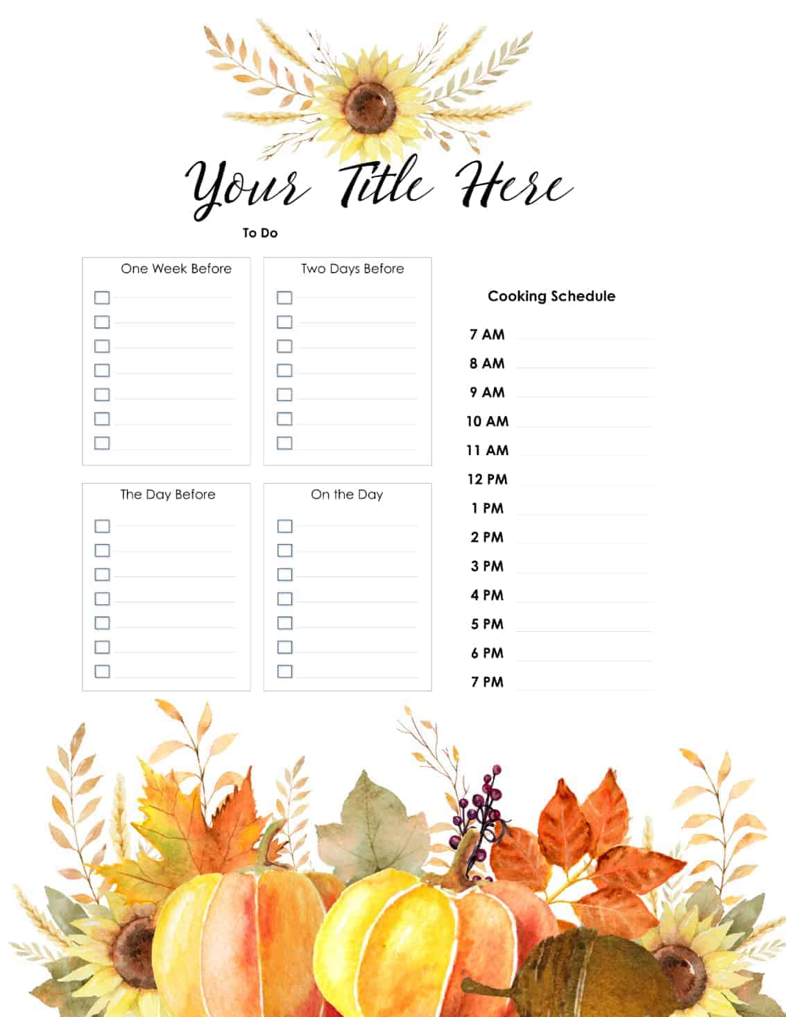 Free Thanksgiving Planner Customize Online Before Your Print