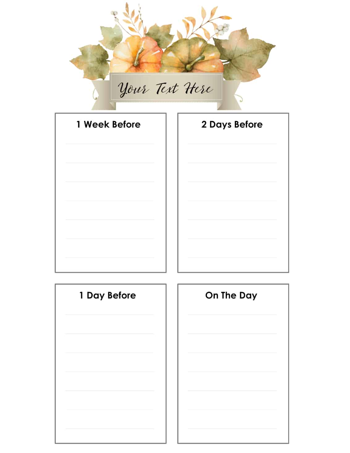 Free thanksgiving planner customize online before your print for For planner