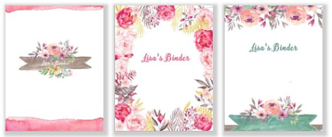 Binder cover template