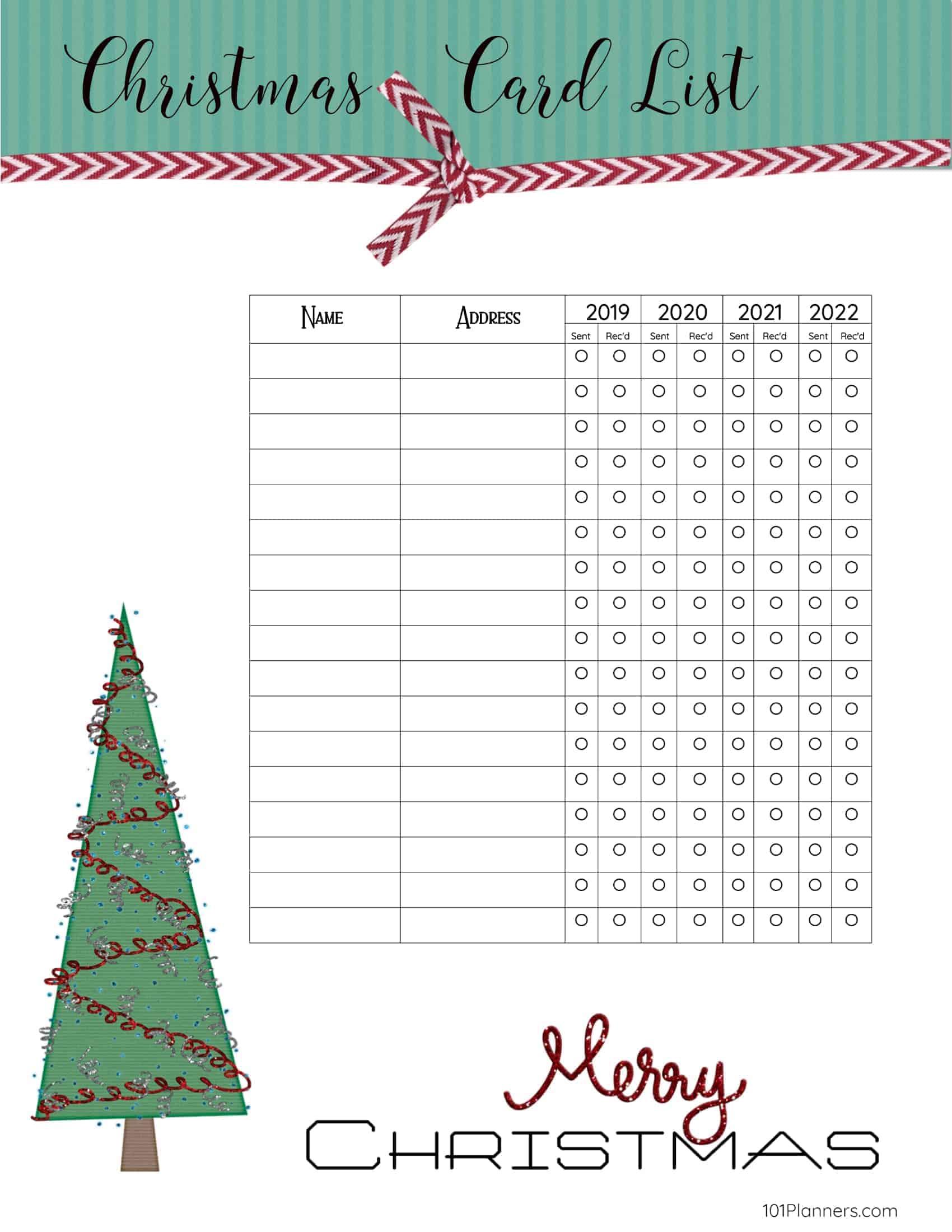 Christmas Card List 2020 FREE Printable Christmas Gift List Template