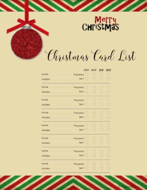 Christmas card mailing list