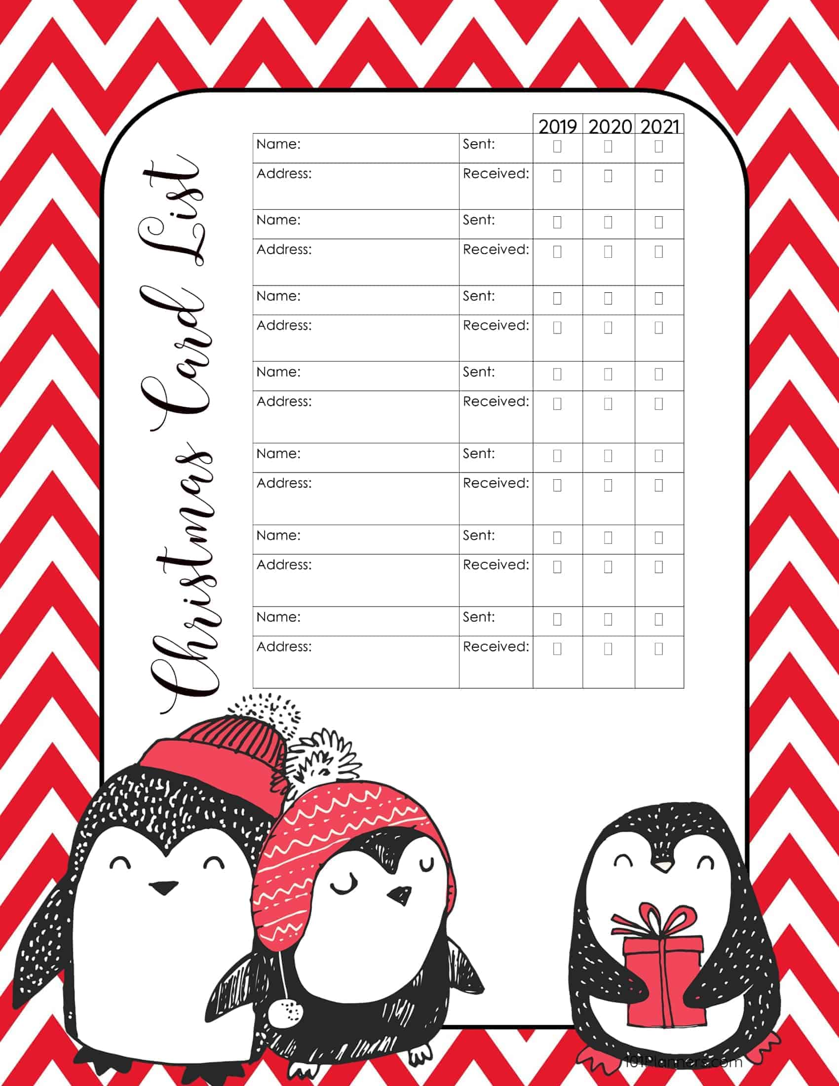 free printable christmas gift list template