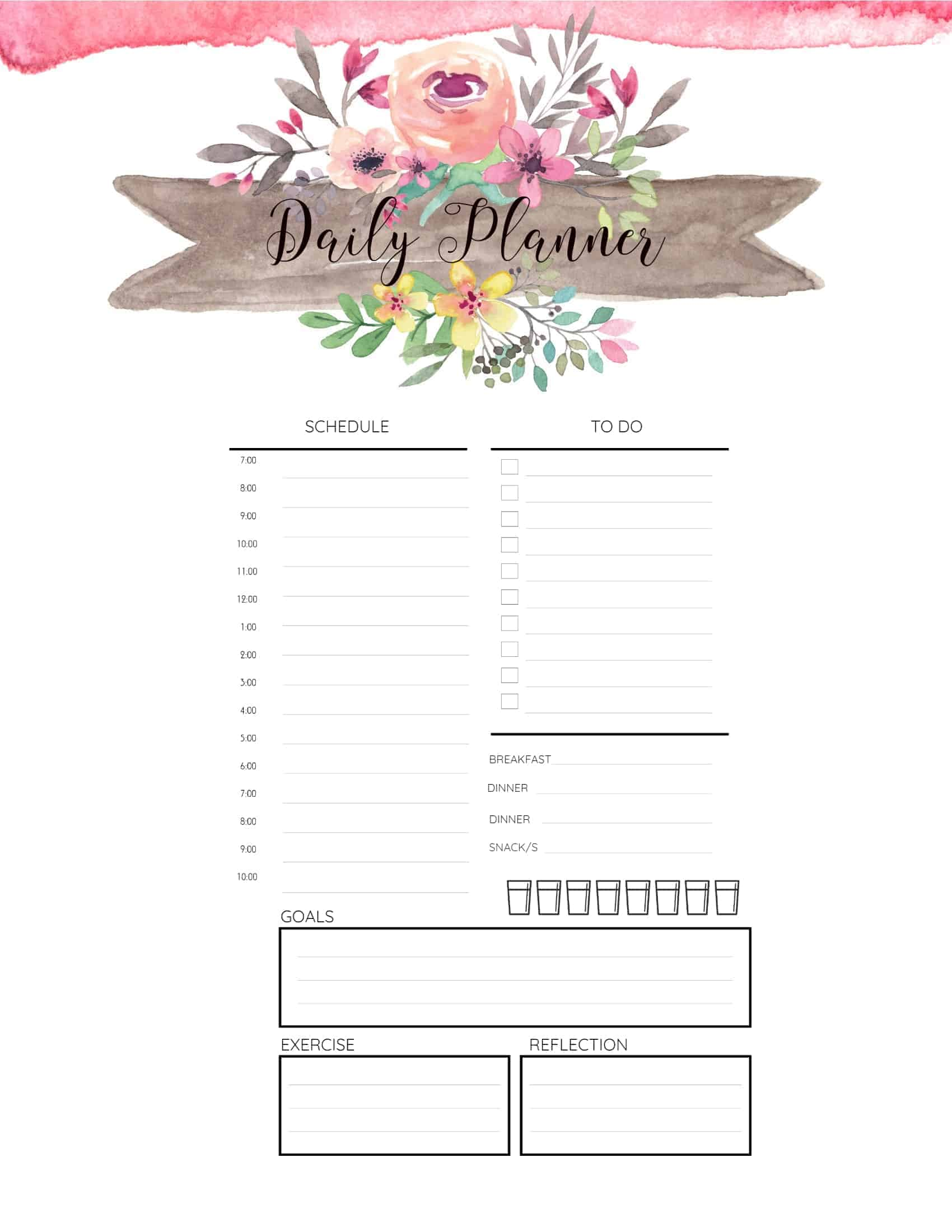 free printable hourly planner
