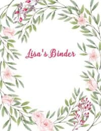 Binder cover with leaves and small flowers