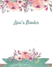 Binder cover with pretty flowers