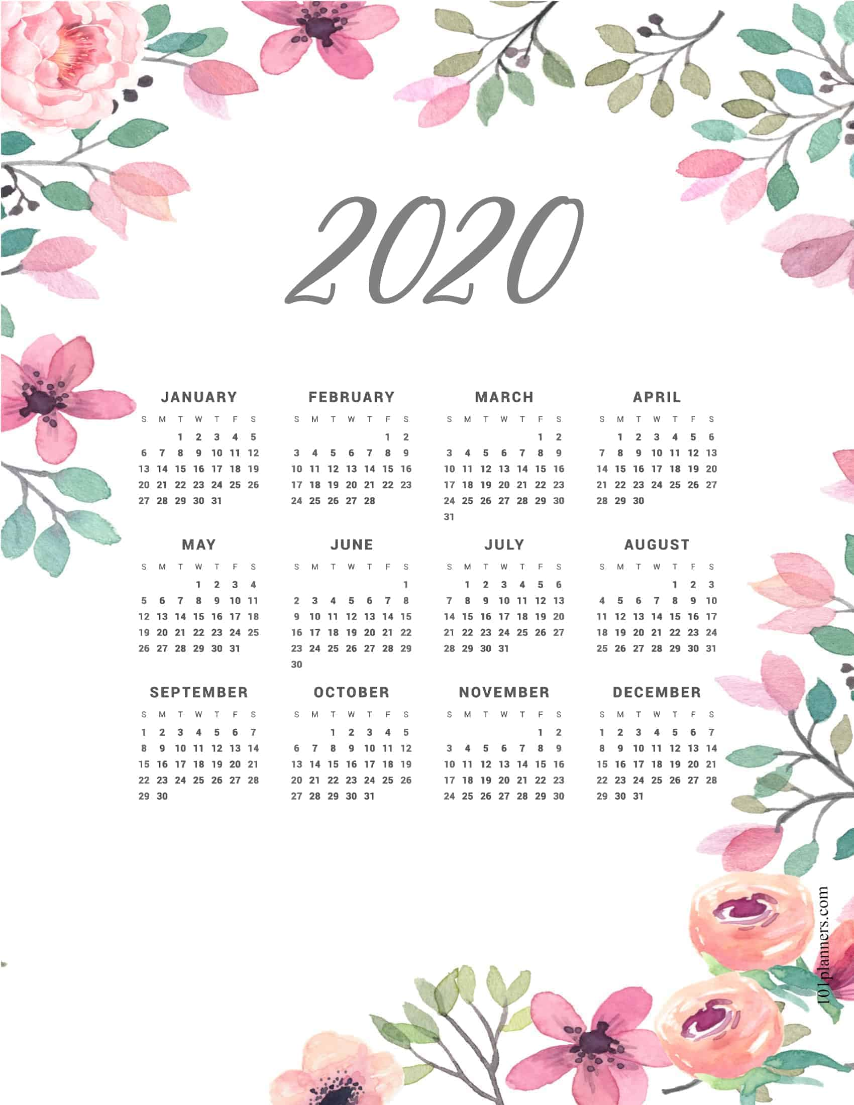 Free printable 2020 yearly calendar at a glance | 101 ...