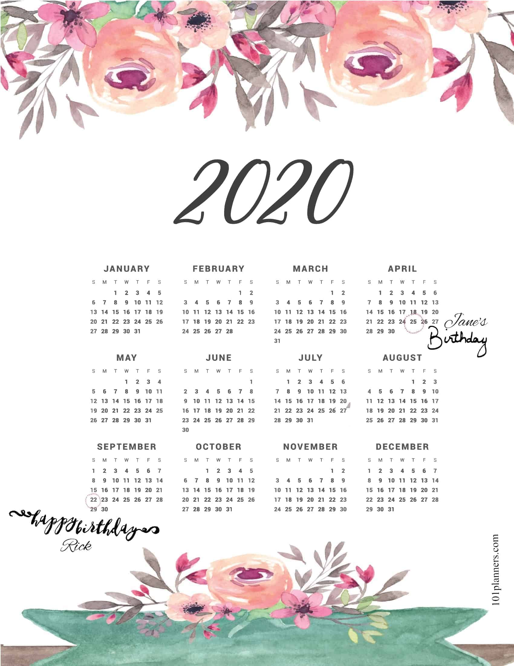 Free Printable 2020 Yearly Calendar At A Glance 101