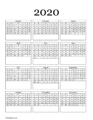 2020 Year at a glance calendar