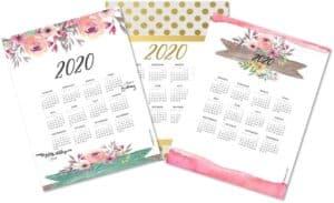 Pretty calendar printables