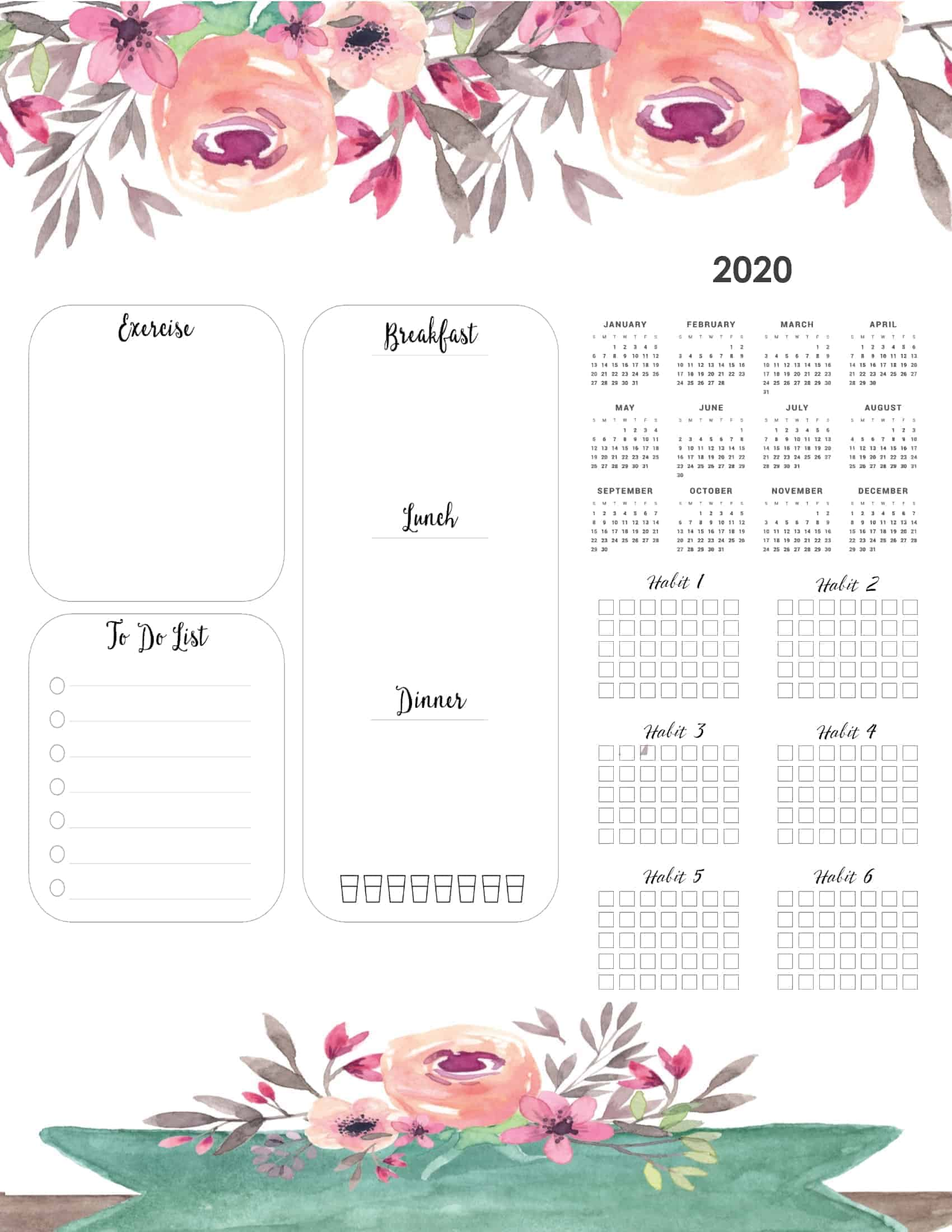 Free Printable 2020 Yearly Calendar At A Glance 101 Backgrounds