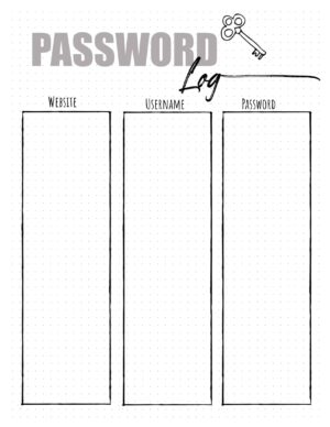 Password sheet printable
