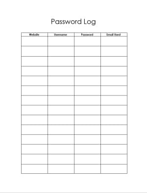 Password tracker template